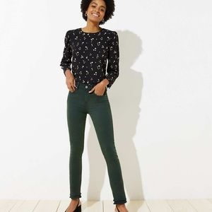 NWT LOFT Modern Double Frayed Skinny Crop Jeans
